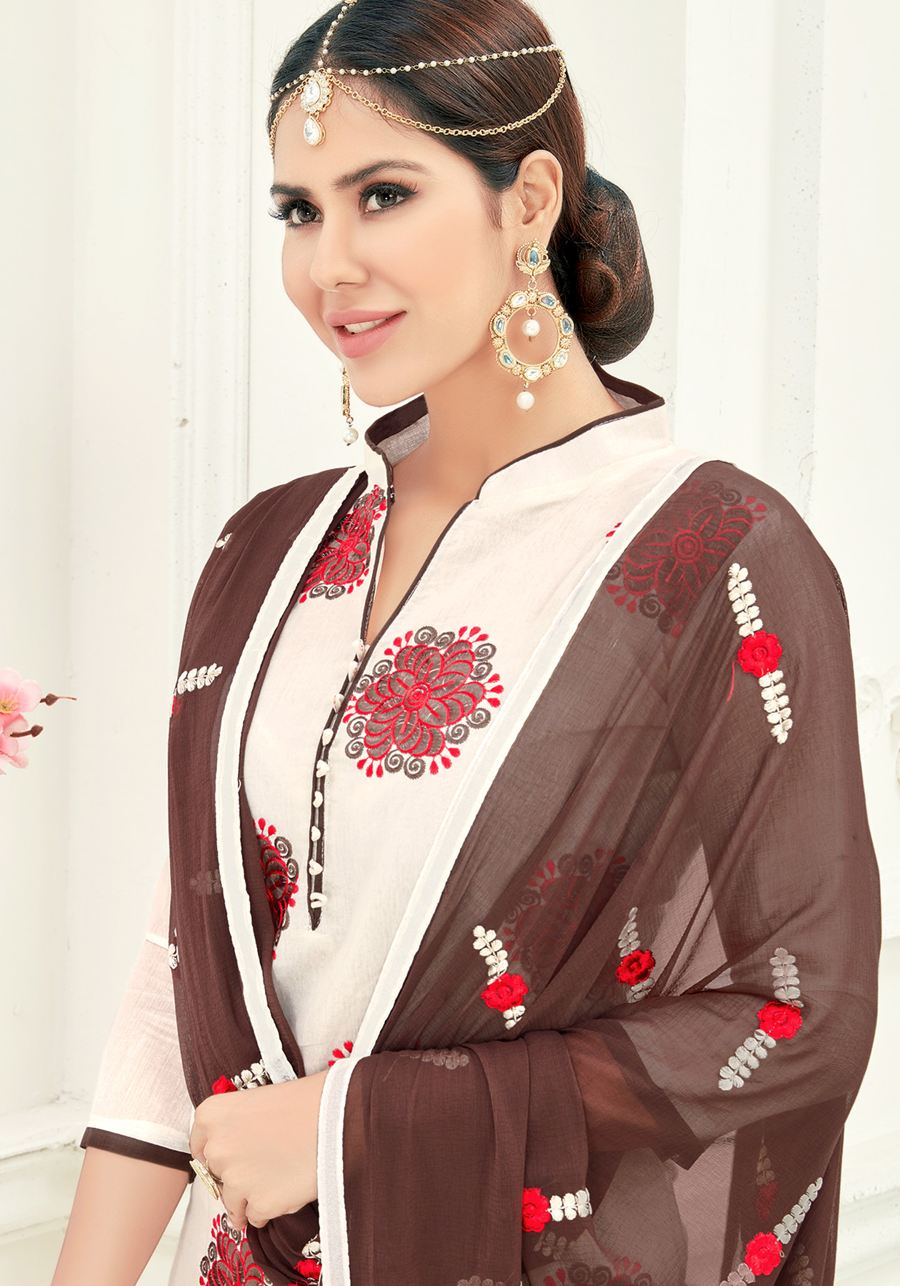 Pleasant White Colored Partywear Embroidered Cotton Suit