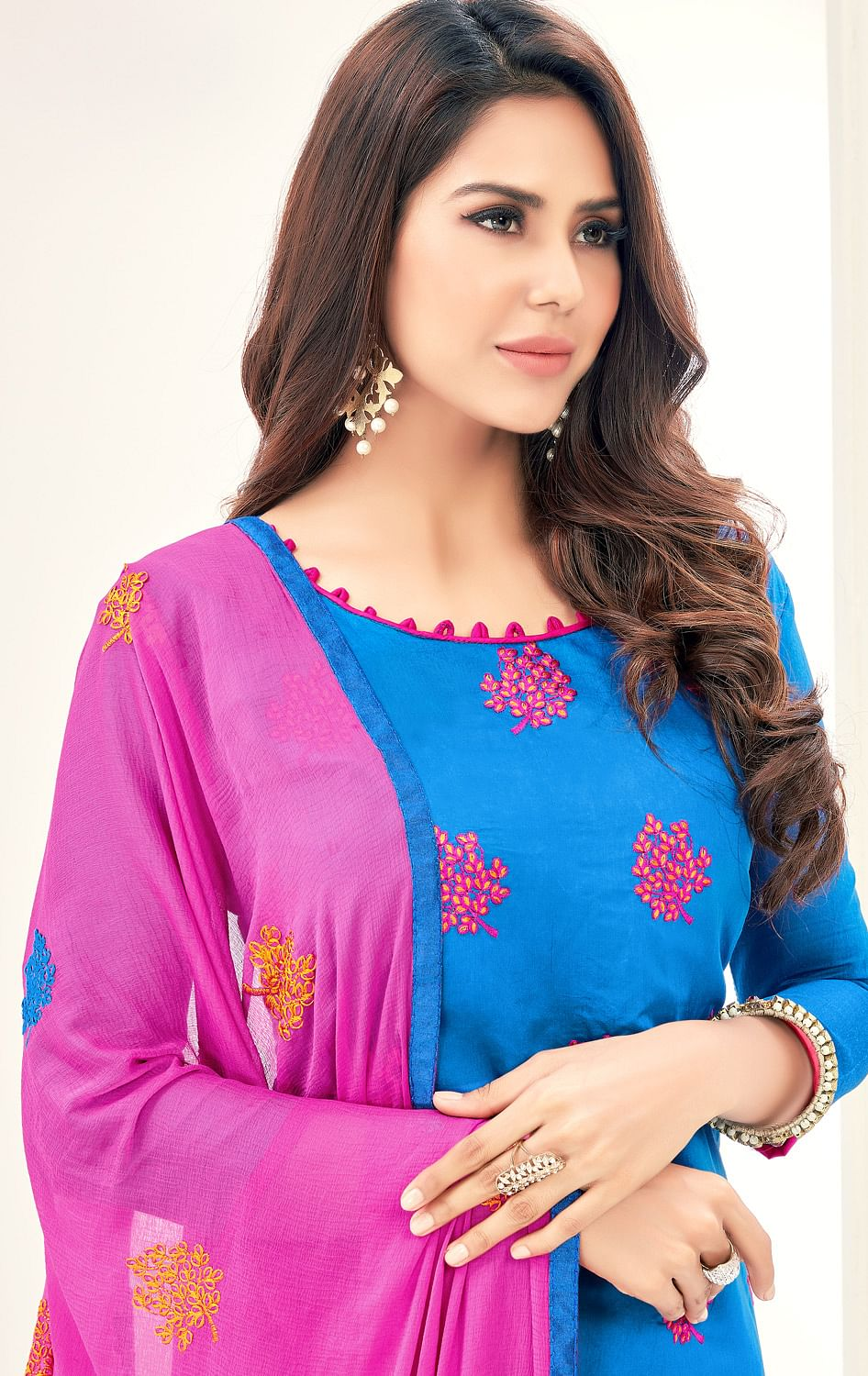 Glorious Blue Colored Partywear Embroidered Cotton Suit