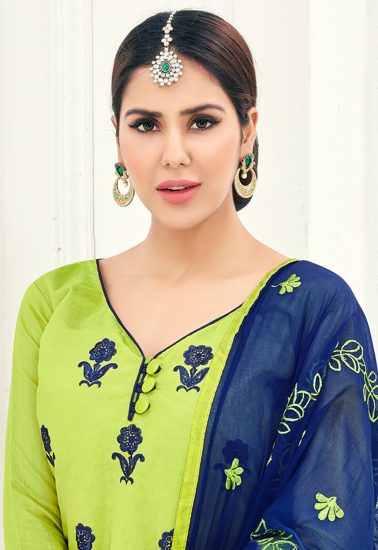 Charming Green Colored Partywear Embroidered Cotton Suit