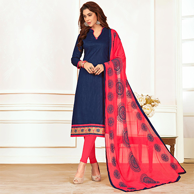 Ethnic Navy Blue Colored Casual Wear Cotton Suit