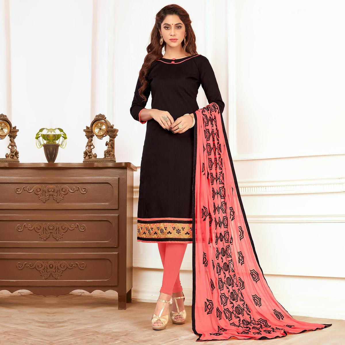 Tempting Black Colored Casual Wear Cotton Suit
