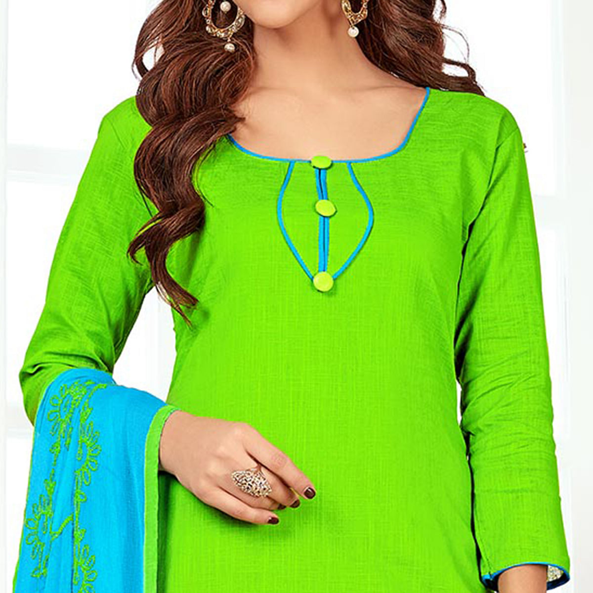 Catchy Green Colored Casual Wear Cotton Suit