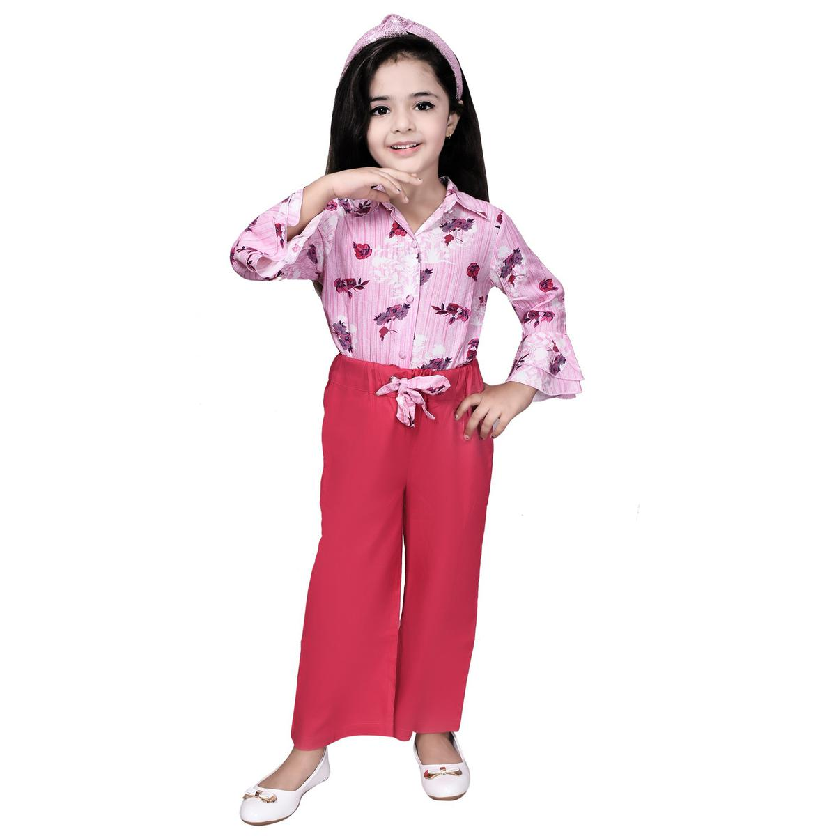 Titrit - Casual Wear Pink Floral Printed Cotton Shirt And Palazzo Set