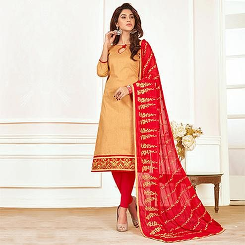 Demanding Beige Colored Casual Wear Cotton Suit
