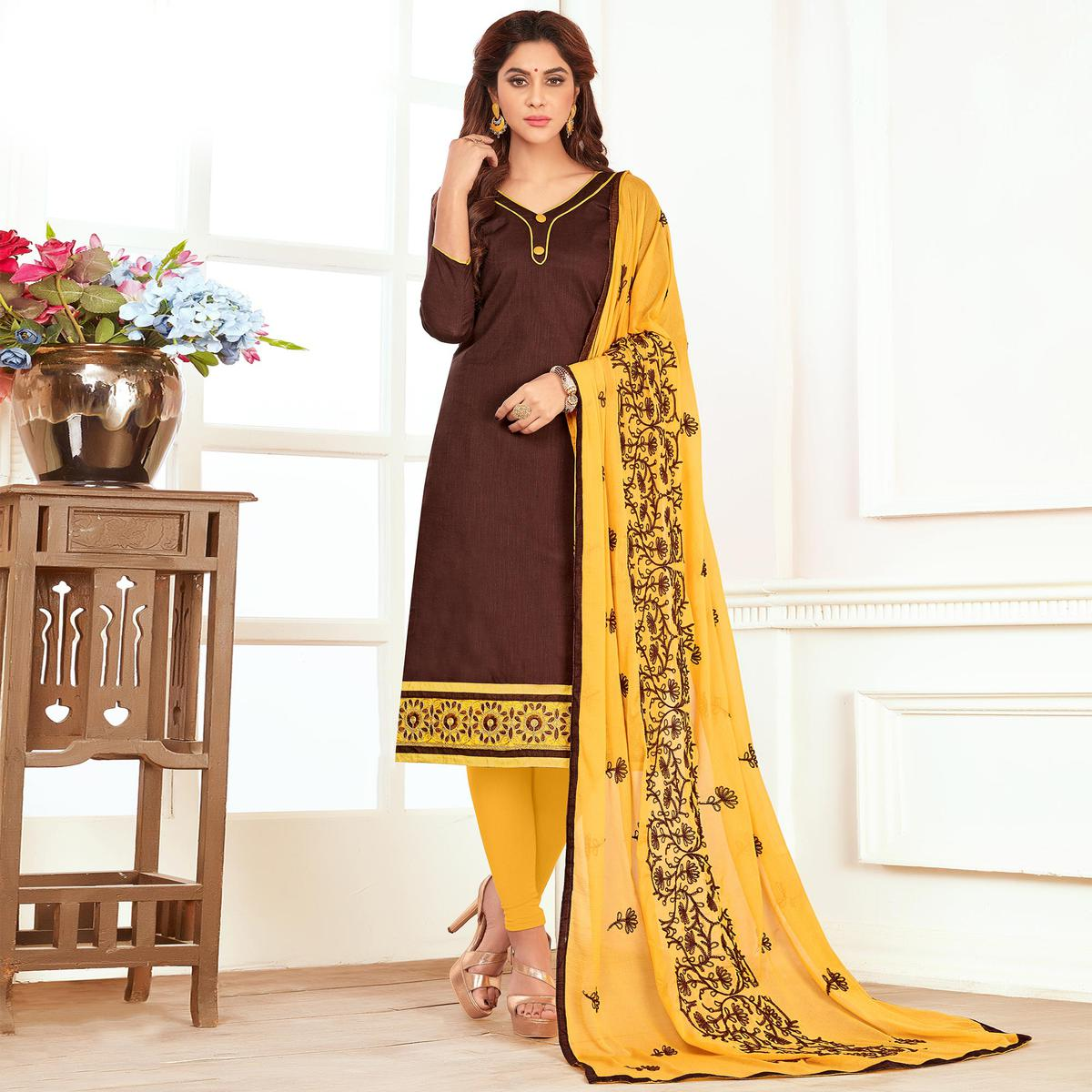 Arresting Brown Colored Casual Wear Cotton Suit