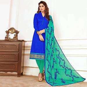 Dashing Blue Colored Casual Wear Cotton Suit
