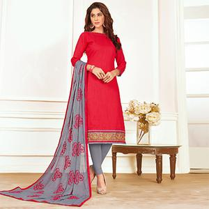 Fantastic Pink Colored Casual Wear Cotton Suit