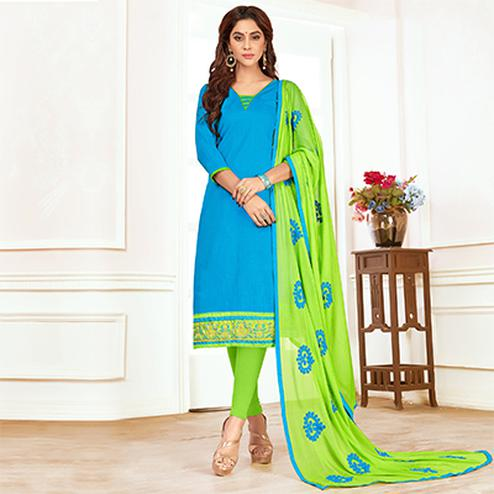 Energetic Sky Blue Colored Casual Wear Cotton Suit