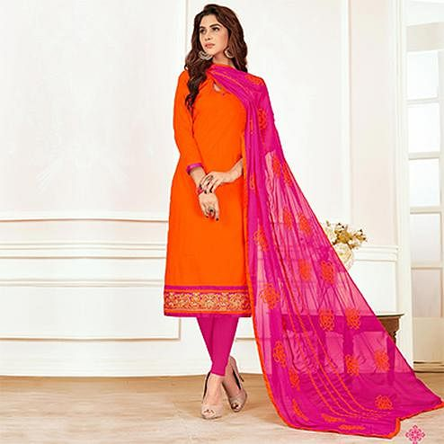 Magnetic Orange Colored Casual Wear Cotton Suit
