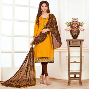 Special Yellow Colored Casual Wear Cotton Suit