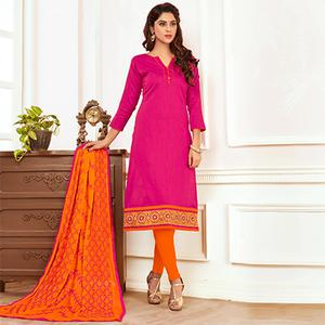 Girlish Pink Colored Casual Wear Cotton Suit
