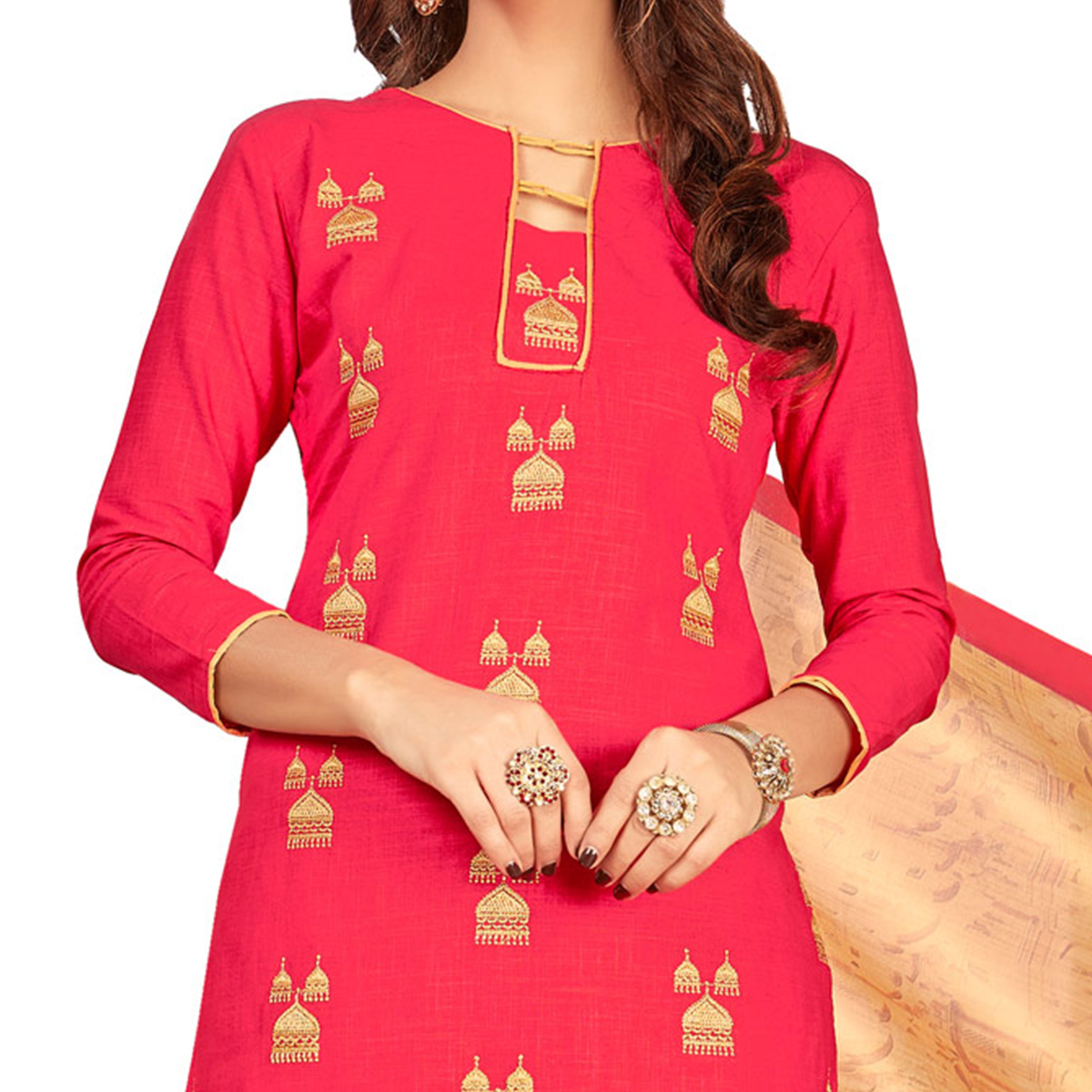 Attractive Fuschia Pink Colored Partywear Embroidered Cotton Suit