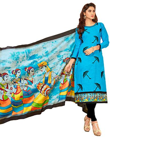 Dazzling Sky Blue Colored Partywear Embroidered Cotton Suit