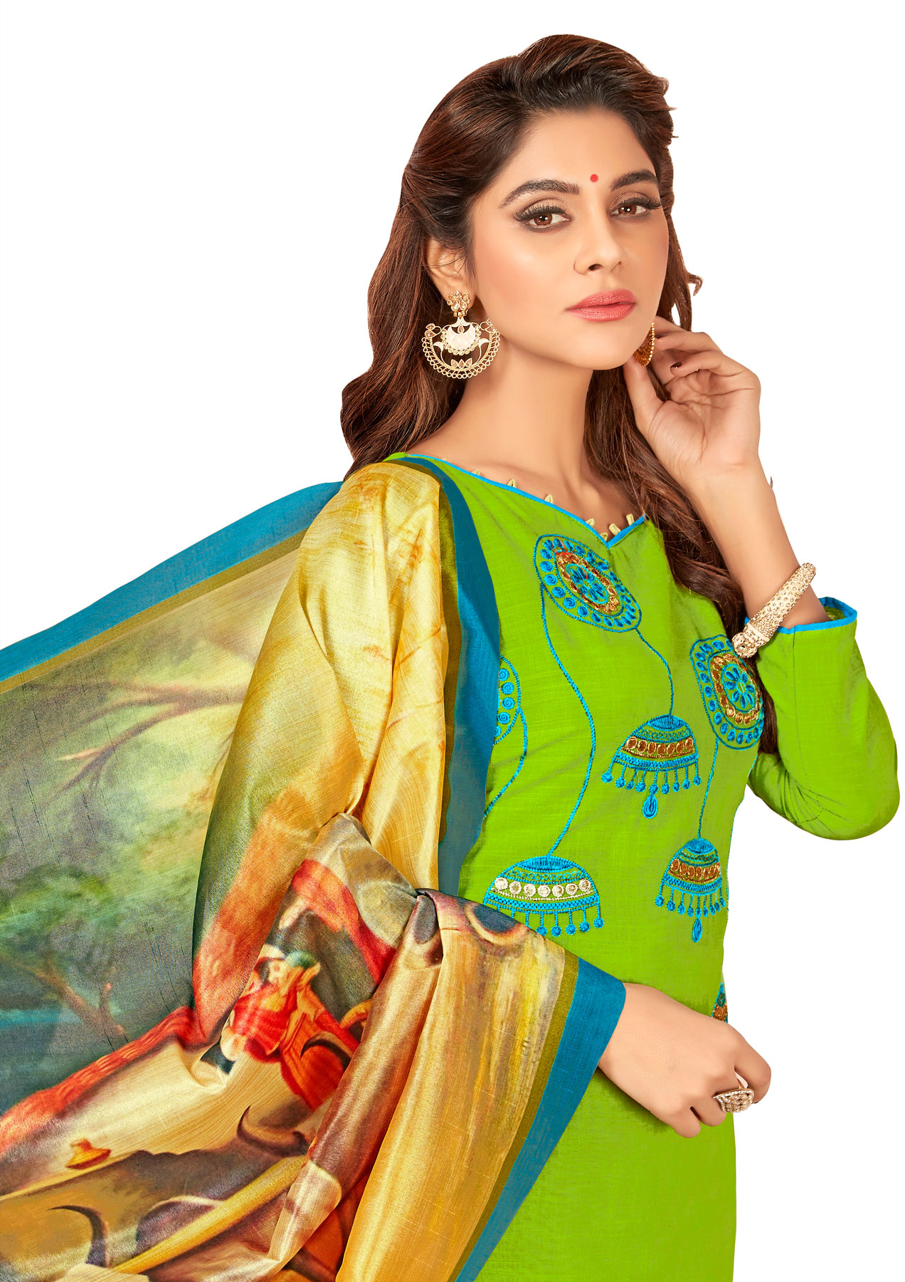 Glorious Green Colored Partywear Embroidered Cotton Suit