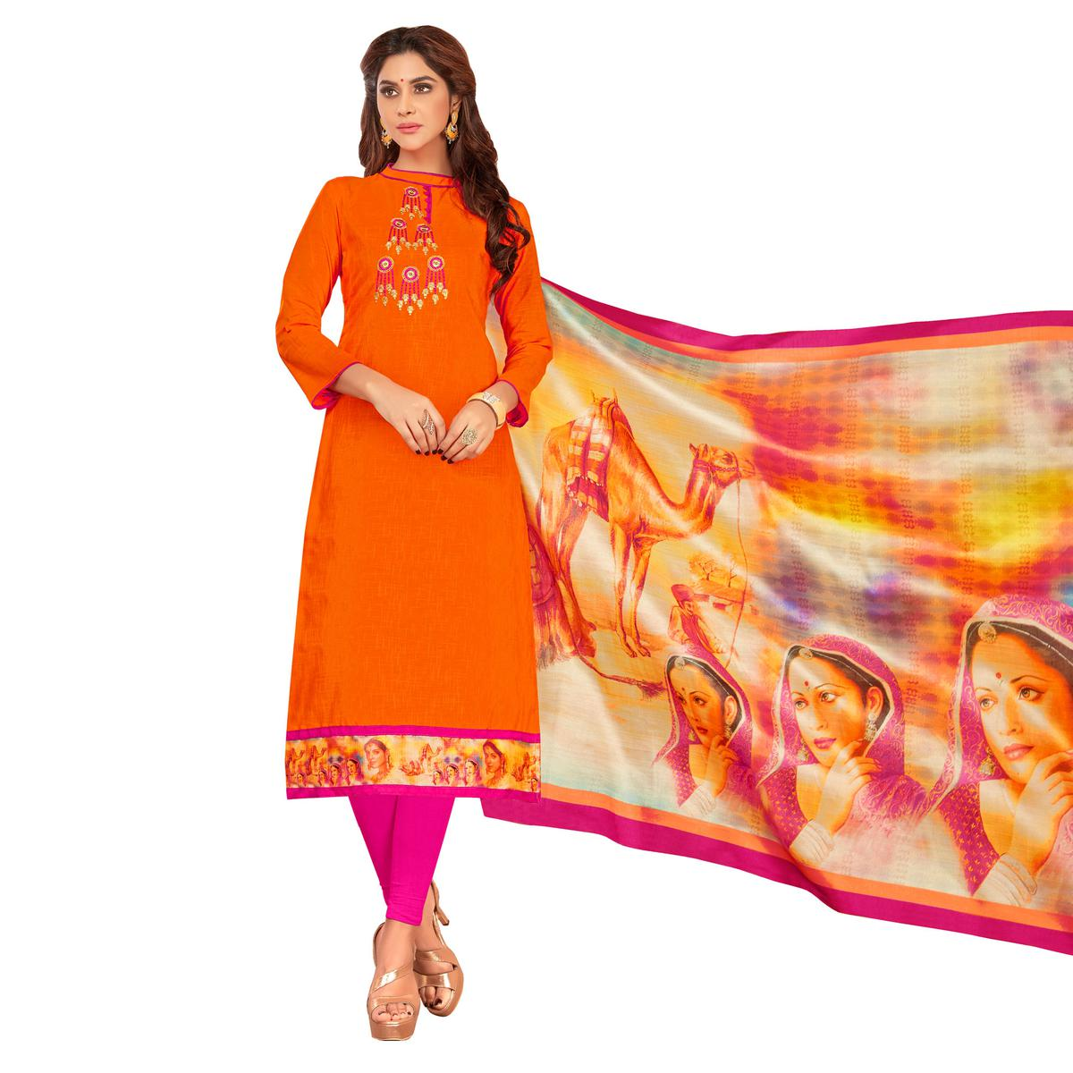 Eye-Catching Orange Colored Partywear Embroidered Cotton Suit