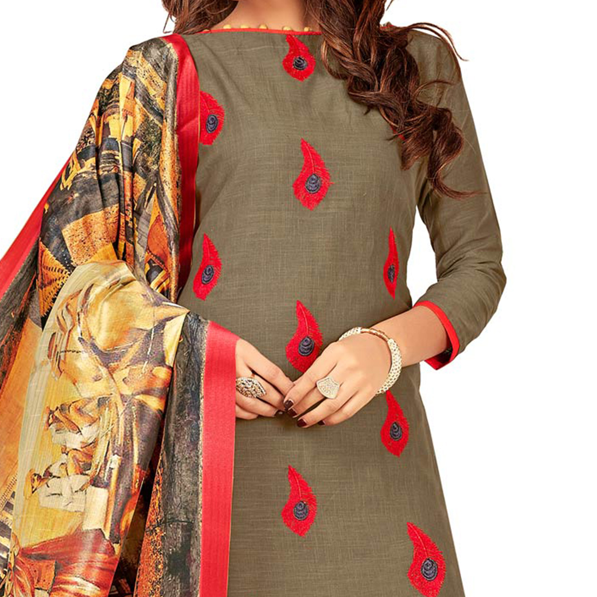 Rich Khaki Brown Colored Partywear Embroidered Cotton Suit
