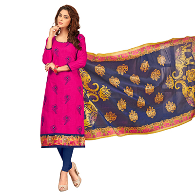 Pretty Rani Pink Colored Partywear Embroidered Cotton Suit