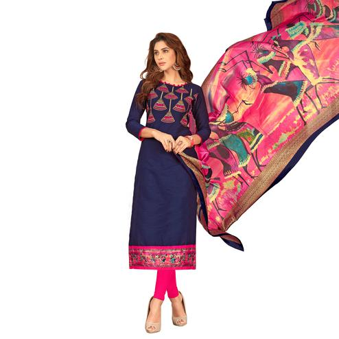 Classy Navy Blue Colored Partywear Embroidered Cotton Suit