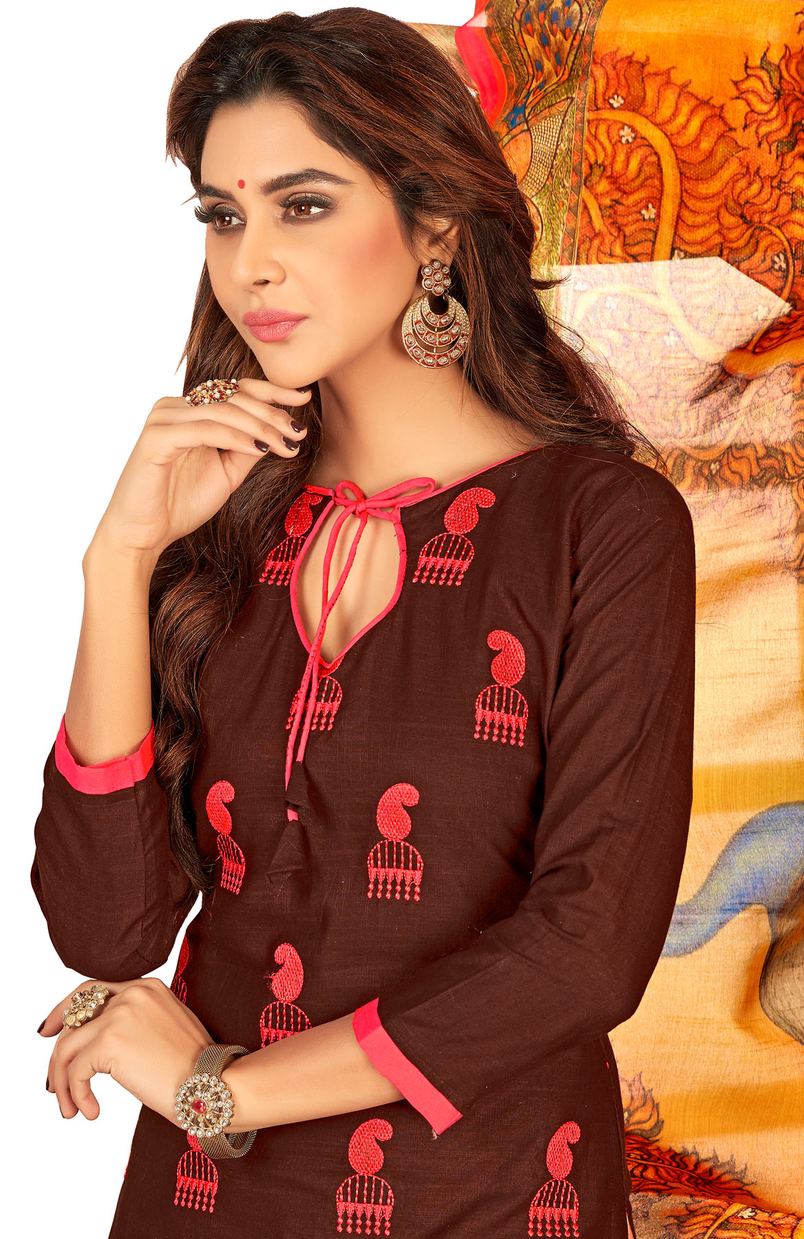 Blissful Brown Colored Partywear Embroidered Cotton Suit