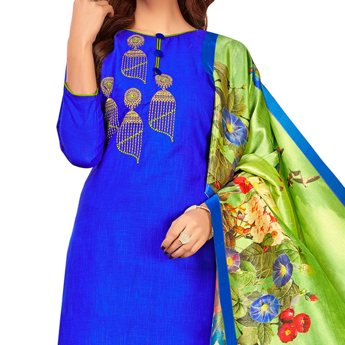 Mesmerising Royal Blue Colored Partywear Embroidered Cotton Suit