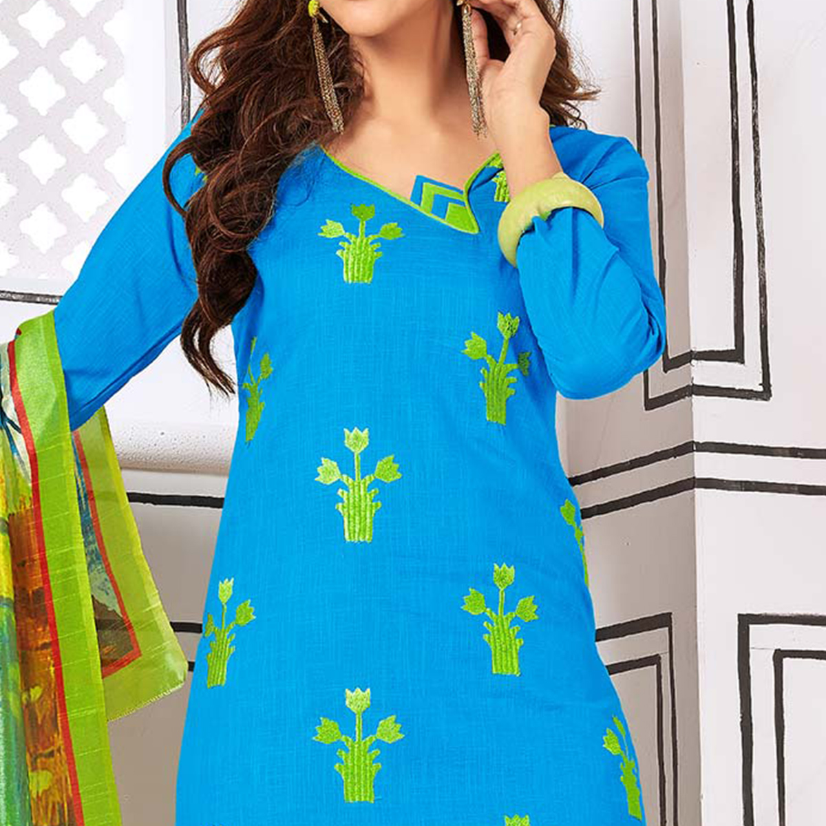 Attractive Sky Blue Colored Partywear Embroidered Cotton Suit