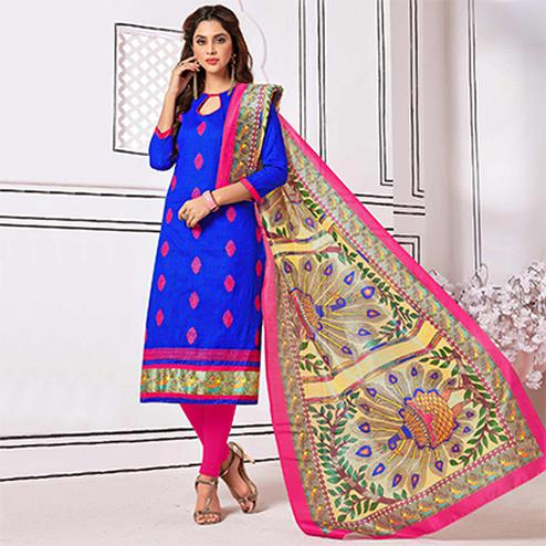 Eye-Catching Royal Blue Colored Partywear Embroidered Cotton Suit