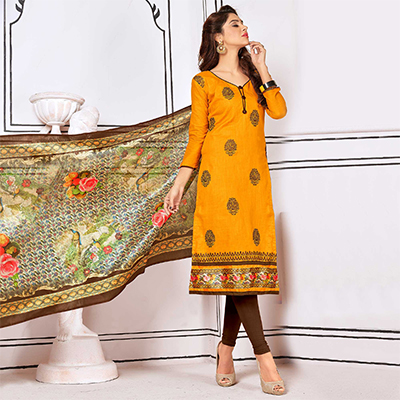 Refreshing Yellow Colored Partywear Embroidered Cotton Suit