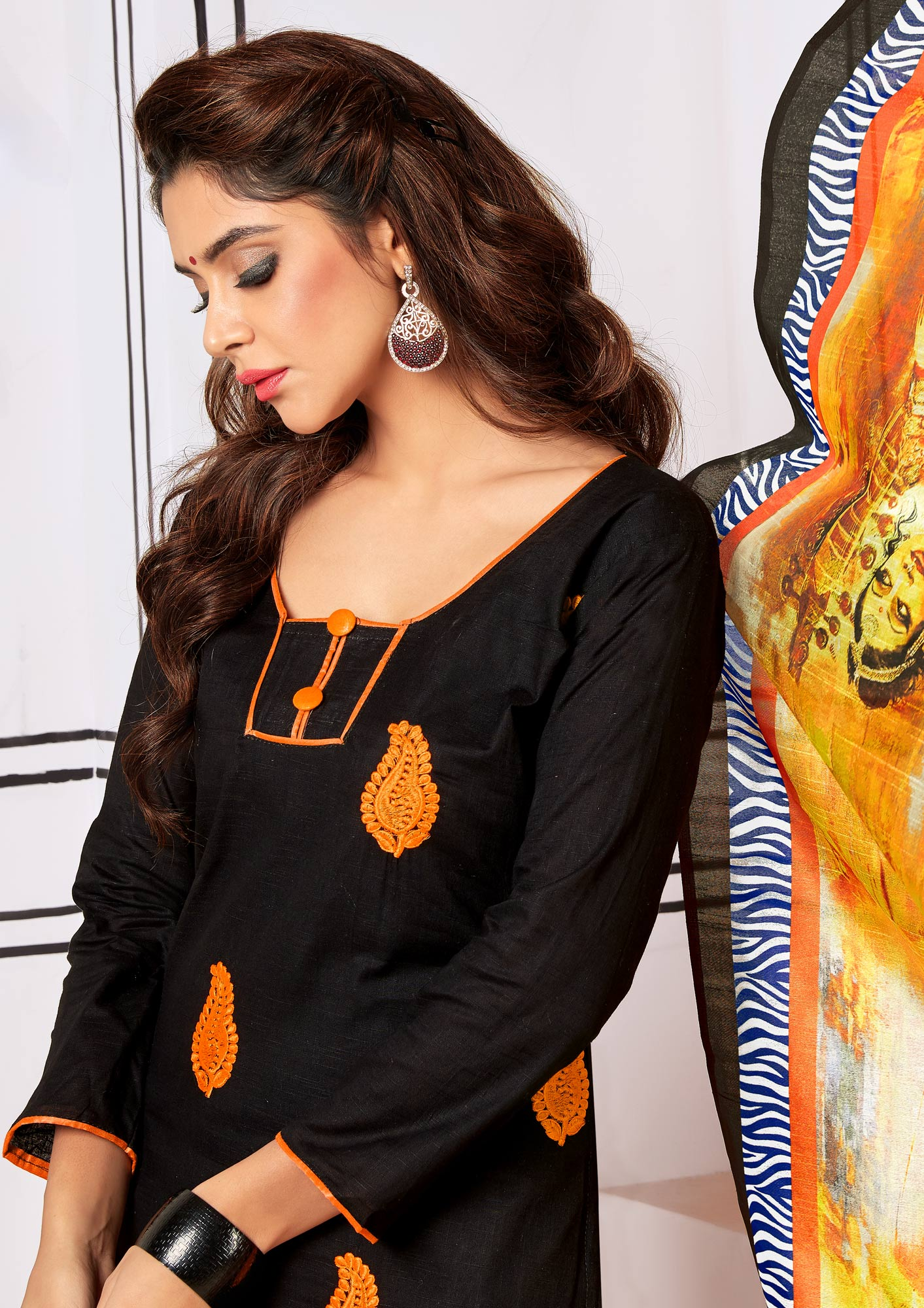Majestic Black Colored Partywear Embroidered Cotton Suit