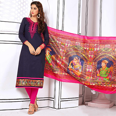 Unique Dark Purple Colored Partywear Embroidered Cotton Suit