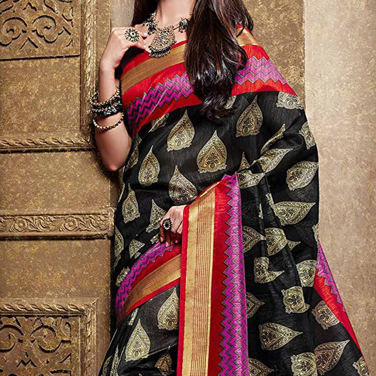 Black Bhagalpuri Silk Printed Saree