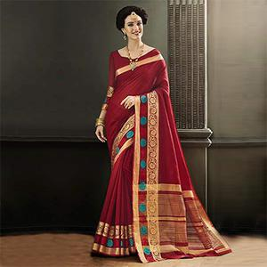 Maroon Traditional Saree With Weaving Border