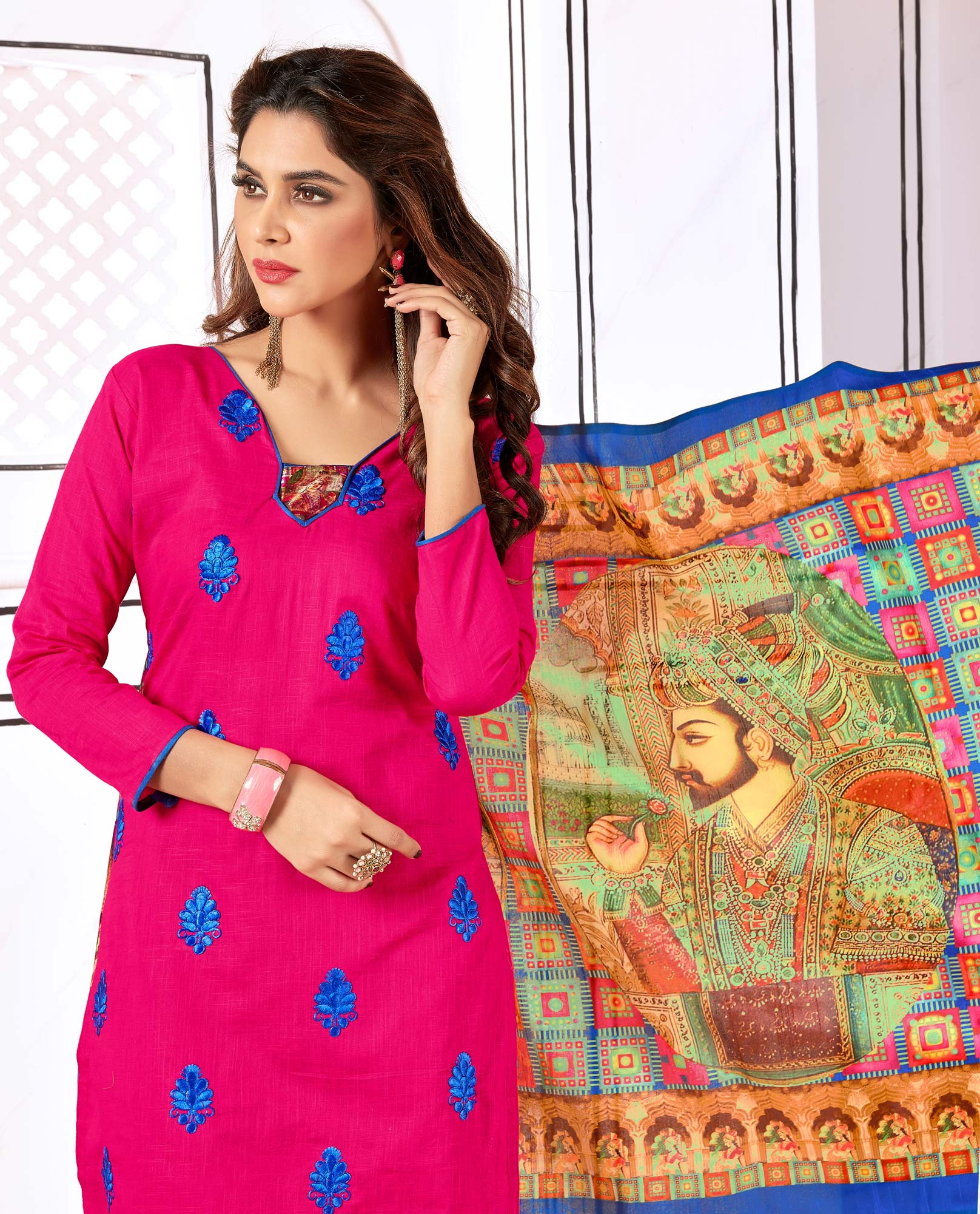Pretty Pink Colored Partywear Embroidered Cotton Suit