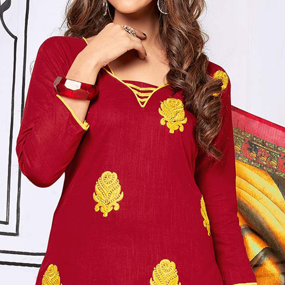 Trendy Maroon Colored Partywear Embroidered Cotton Suit