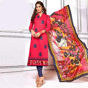 Beautiful Pink Colored Partywear Embroidered Cotton Suit