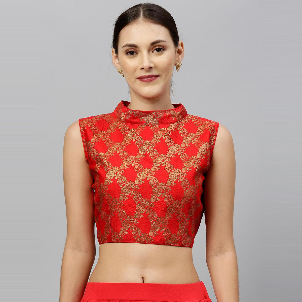 Amrutam Fab - Women's Red Brocade Blouse With Collar Neck