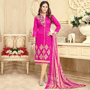 Smart Pink Colored Partywear Embroidered Chanderi Silk Suit