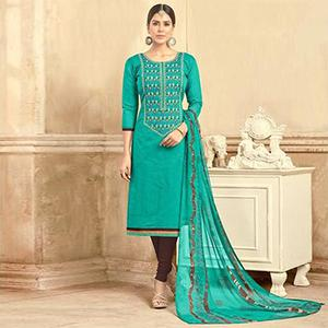 Demanding Turquoise Green Colored Partywear Embroidered Chanderi Silk Suit