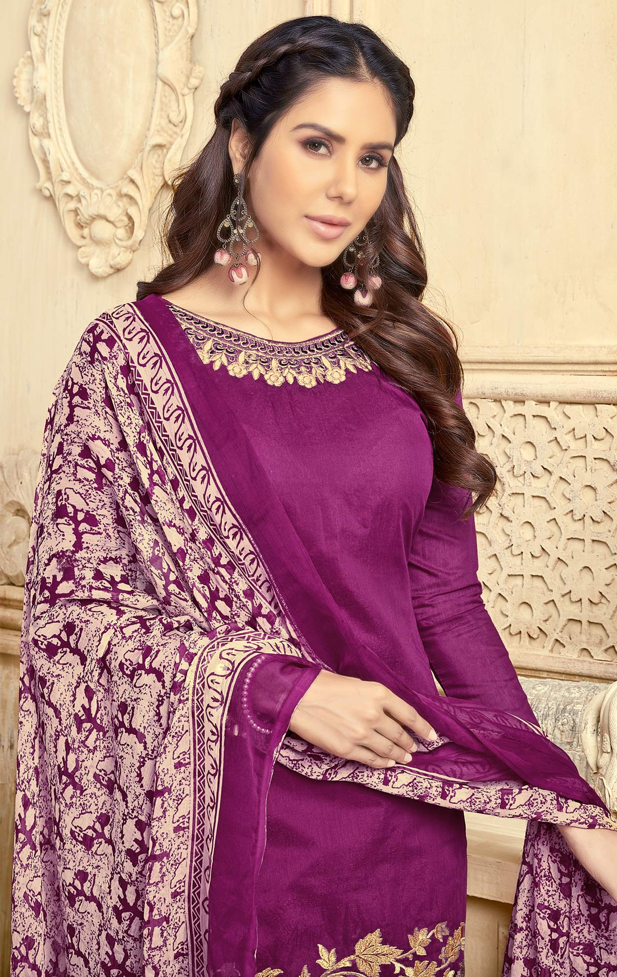 Deserving Purple Colored Partywear Embroidered Chanderi Silk Suit