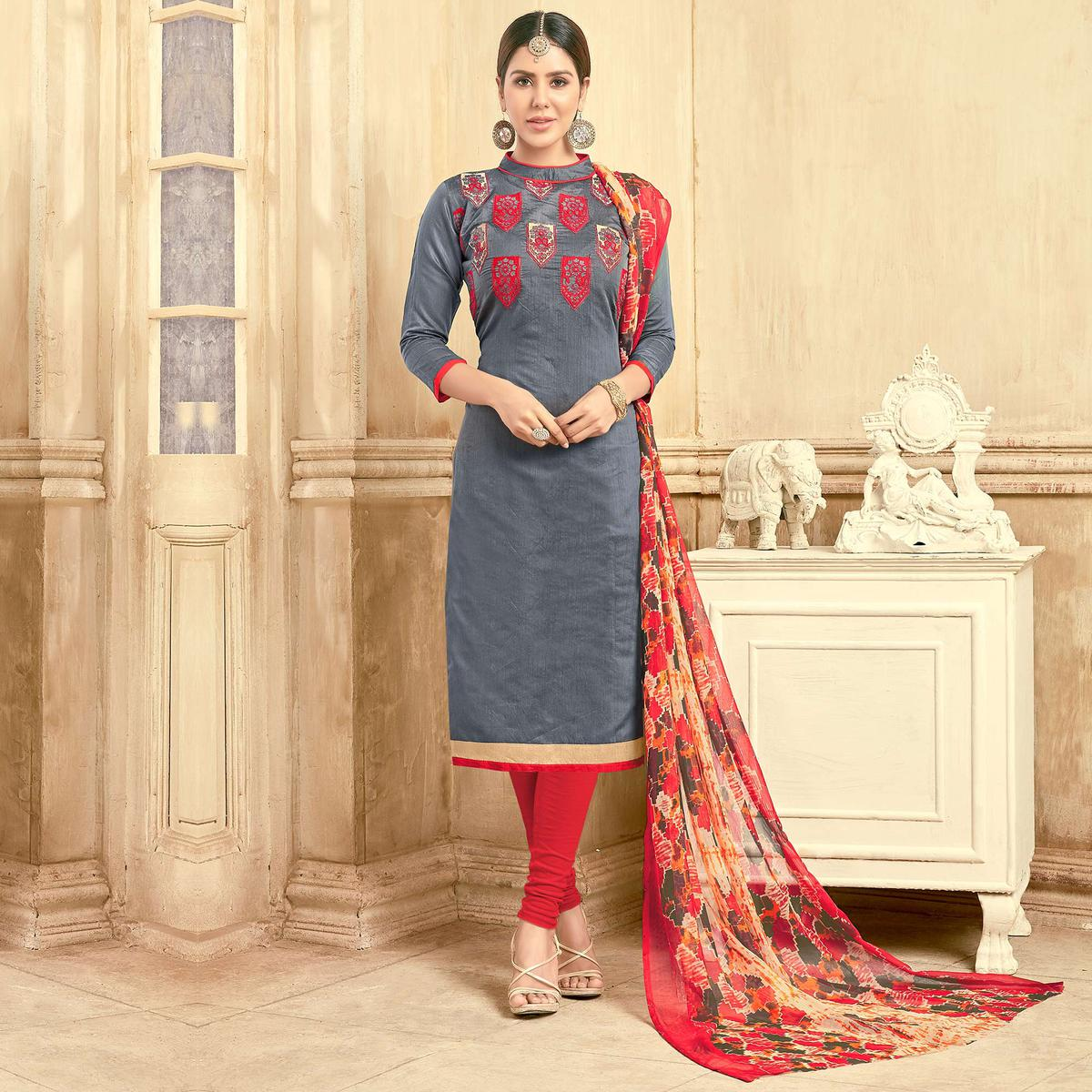 891bf9e456 Buy Awesome Grey Colored Partywear Embroidered Chanderi Silk Suit for womens  online India, Best Prices, Reviews - Peachmode