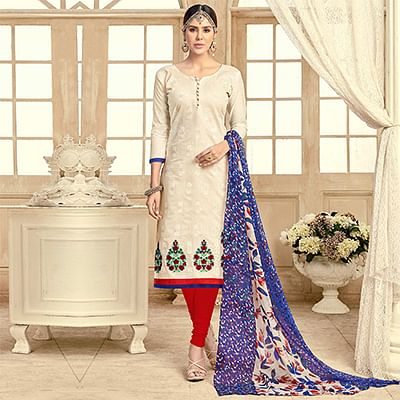 Pleasant Off-White Colored Partywear Embroidered Chanderi Silk Suit