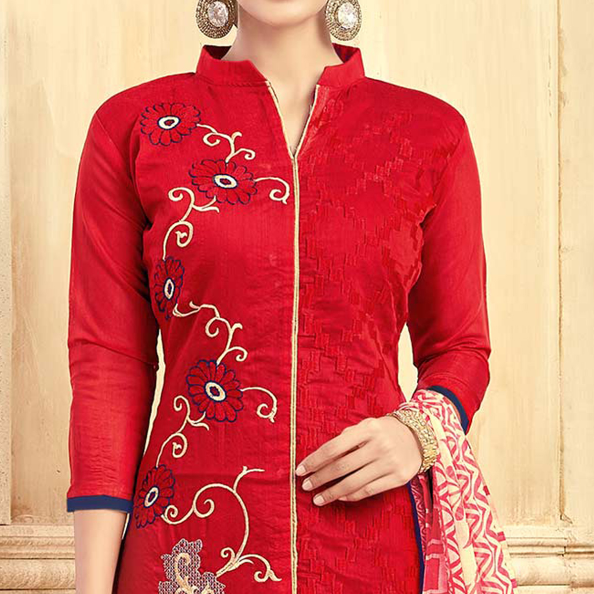 Trendy Red Colored Partywear Embroidered Chanderi Silk Suit