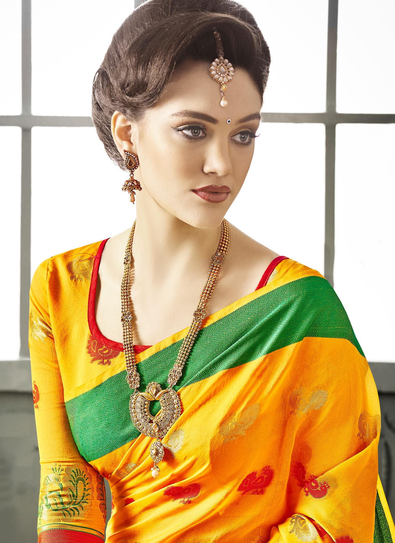 Yellow Cotton Silk Woven Saree