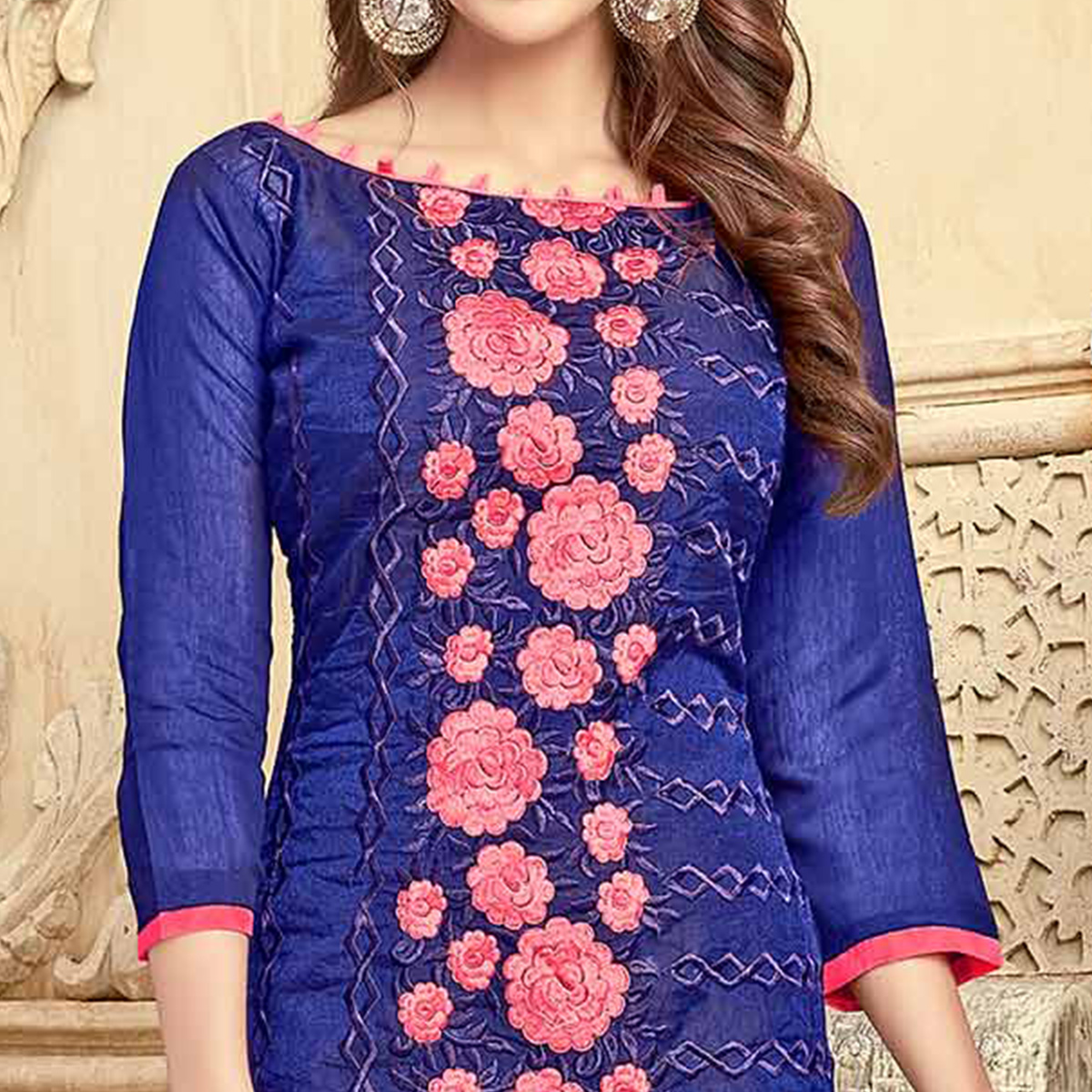 Charming Blue Colored Partywear Embroidered Chanderi Silk Suit