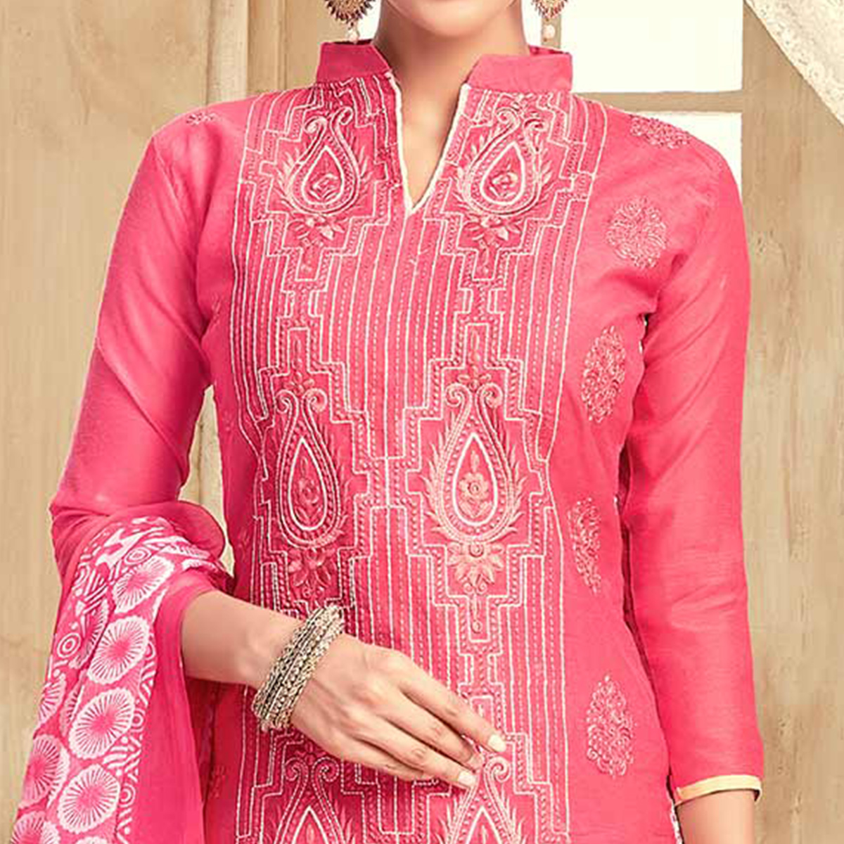 Beautiful Pink Colored Partywear Embroidered Chanderi Silk Suit