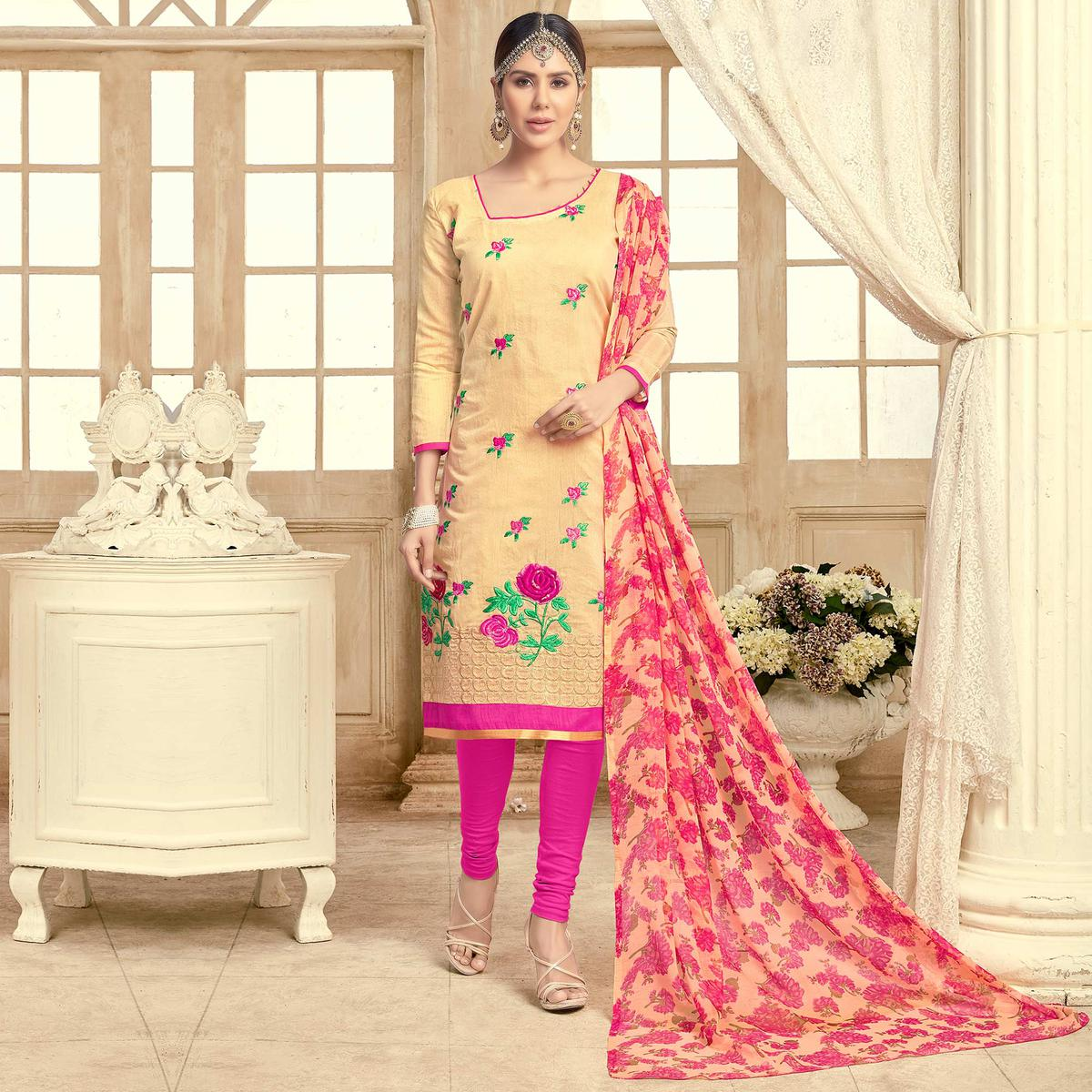 Elegant Yellow Colored Partywear Embroidered Chanderi Silk Suit