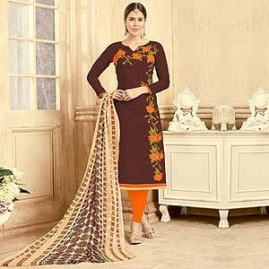 Glorious Brown Colored Partywear Embroidered Chanderi Silk Suit