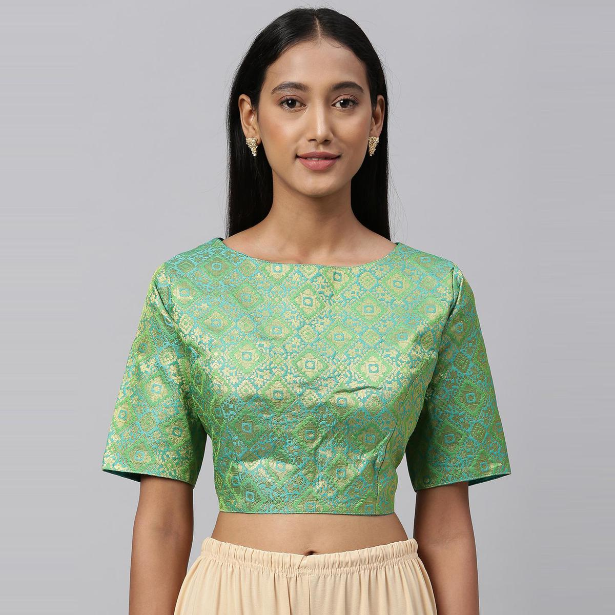 Amrutam Fab - Women's Jacquard Green Blouse With Round Neck