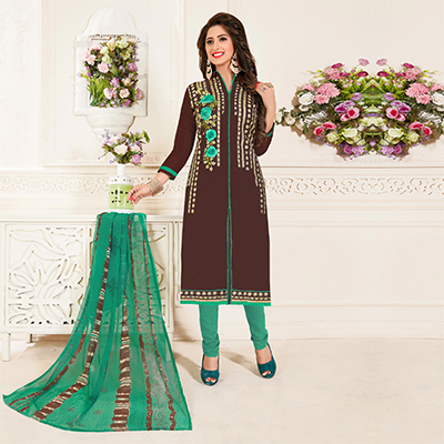 Trendy Brown Colored Partywear Embroidered Chanderi Silk Suit