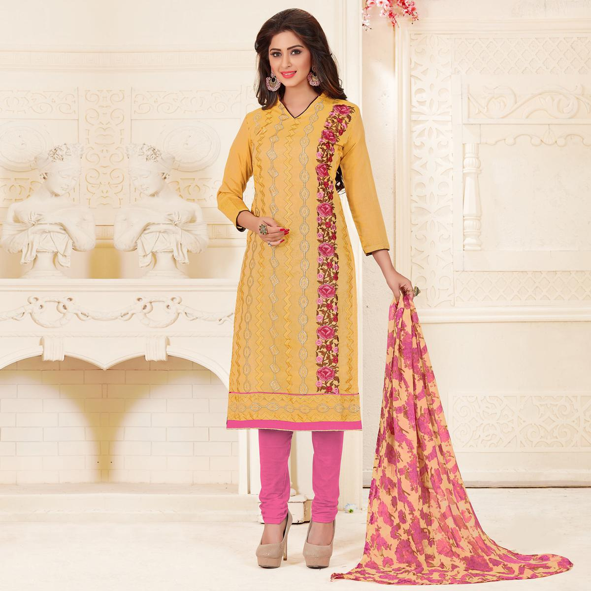 Pleasant Yellow Colored Partywear Embroidered Chanderi Silk Suit