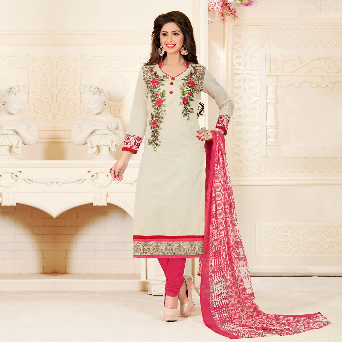 b464958cd6 Buy Adorning Off-White Colored Partywear Embroidered Chanderi Silk Suit for womens  online India
